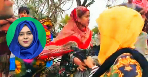 সাতক্ষীরা শ্যামনগরে বন্যার্তদের মাঝে খাদ্য উপহার দিলেন নাফিজা আনজুম খান